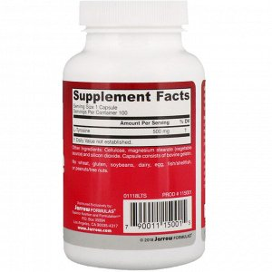 Jarrow Formulas, L-Tyrosine, 500 мг, 100 капсул