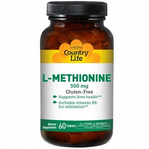 Country Life, L-метионин, 500 мг, 60 таблеток
