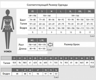 UNIQLO №12 Популярная одежда из Японии!! Рассрочка! — Размерная сетка — Женщинам
