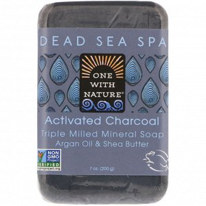 One with Nature, Triple Milled Mineral Soap Bar, Activated Charcoal, 7 oz (200 g)