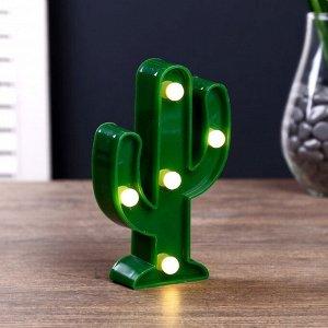 """Ночник """"Кактус малый"""" 5 LED  батарейки 3xAG13 зеленый 7.5х3х12 см."""