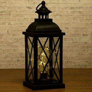 "Ночник ""Фонарь с лампой"" чёрная от батареек 3ААА 35х13.5х13.5 см"