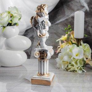 """Статуэтка """"Ангел на колонне"""", белый цвет, с золотистым декором, 32 см"""