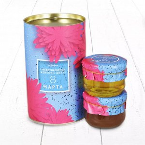 """Подарочный Набор """"Тубус 8 Марта С международным женским днем Астра липовый и дягилевый мёд"""""""