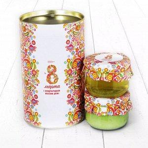 """Подарочный Набор """"Тубус 8 Марта С международным женским днем с киви и акациевый мёд"""""""