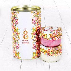 """Подарочный Набор """"Тубус 8 Марта С международным женским днем с малиной и с кедровым орехом мёд"""""""