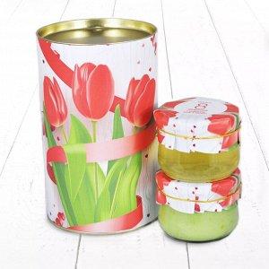 """Подарочный Набор """"Тубус 8 Марта С праздником весны и красоты Тюльпаны с киви и акациевый мёд"""""""