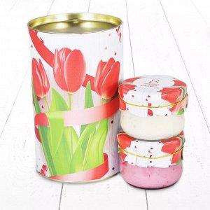 """Подарочный Набор """"Тубус 8 Марта С праздником весны и красоты Тюльпаны с малиной и с кедровым орехом мёд"""""""