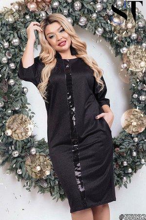 Платье чёрное с пайетками. ❤SТ-Style~53❤Новая Весенняя коллекция❤ размер 56/58