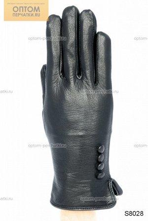 Перчатки женские кожаные с натуры мехом внутри
