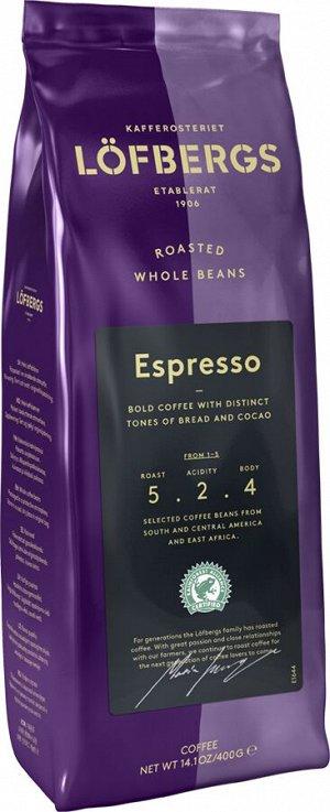 "Кофе  обжарки эспрессо, зерно LOFBERGS ""Espresso"", 70%А + 30%Р"