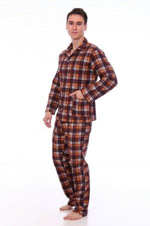 Пижама мужская,модель203,фланель (46 размер, Клетка, вид 3)