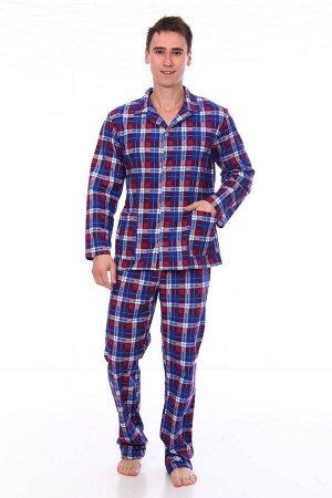 Пижама мужская,модель203,фланель (48 размер, Клетка, вид 1)
