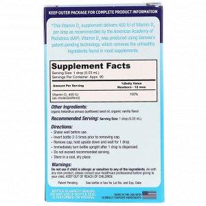 Genexa, Витамин D3 для младенцев, для детей с рождения, органический ванильный ароматизатор, 400 МЕ, 3 мл (0.10 жидк. унций)