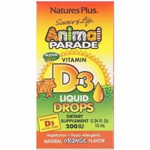 Nature&#x27 - s Plus, Source of Life, «Парад животных», витамин D3, жидкие капли, натуральный апельсиновый вкус, 200 МЕ, 0,34 жи