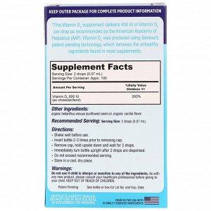 Genexa, Детский витамин D3, для детей возраста 1+, органический ванильный ароматизатор, 400 МЕ, 7 мл (0.23 жидк. унции)