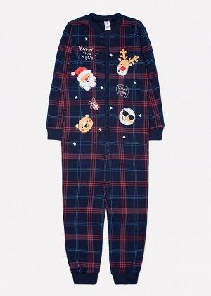 Комбинезон пижама для мальчика Crockid К 6180 клетка на синем