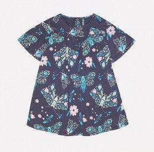 Платье для девочки Crockid КР 5558 темно-серый, магические бабочки к223