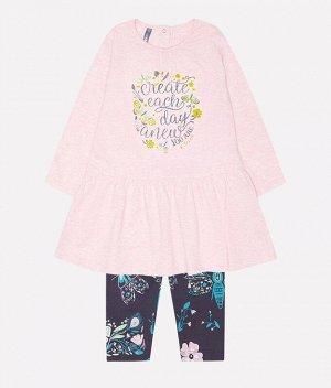 Комплект для девочки Crockid КР 2490 светло-розовый меланж+тем. серый к221