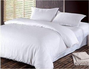 Постельное белье страйп-сатин однотонный полоса 3х3 см (Белый) 1,5 сп. на резинке 90х200