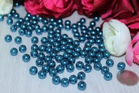 Бусины под жемчуг (хром-синий) 8мм в упаковке 50 шт.