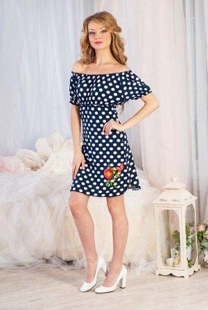 Сабрина Платье женское - трансформер (резинка на плечи или горловину) Длина платья от верхней точки плеча 88см на 44р(резинка на горловине)