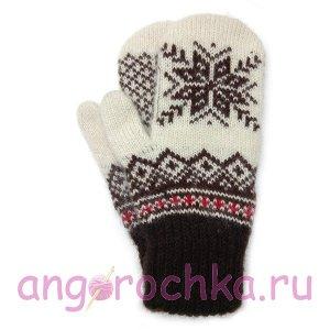 Бело-коричневые шерстяные варежки со снежинкой - 305.150