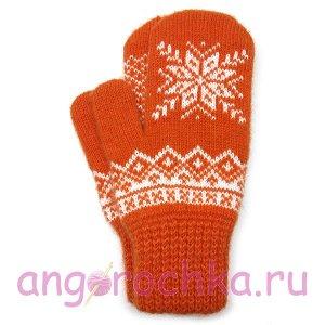 Оранжевые шерстяные варежки со снежинкой - 305.137
