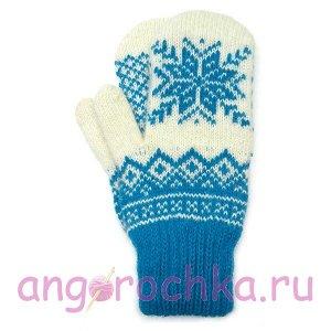 Бело-синие шерстяные варежки со снежинкой - 305.149