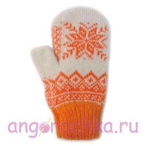 Белые шерстяные варежки с оранжевой снежинкой - 305.124