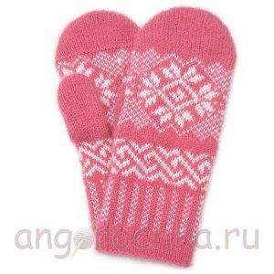 Розовые шерстяные варежки - 300.24