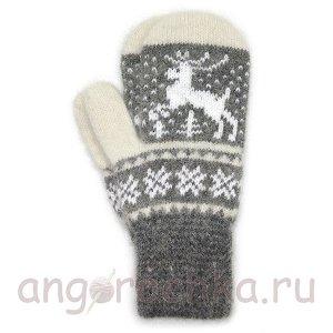 Женские шерстяные варежки с оленем - 305.159
