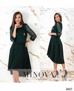 Платье №8619-темно-зеленый