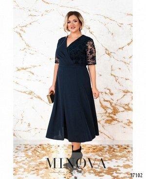 Платье №4139-1СБ-темно-синий