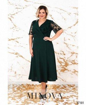 Платье №4139-1СБ-темно-зеленый