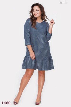 Модное платье с воланом Вайле - 1  (голубой)
