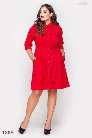 Красное платье с кружевом Джибути  (красный)