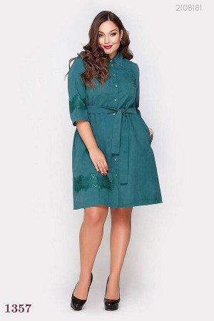 Платье рубашка  Джибути  (изумрудный)