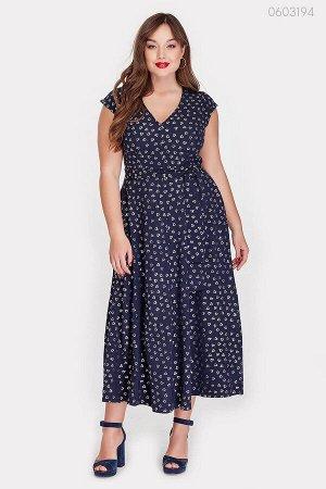 Модное платье с напылением  (синий)
