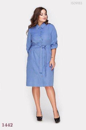 Платье с оригинальным поясом Брисбен  (голубой)