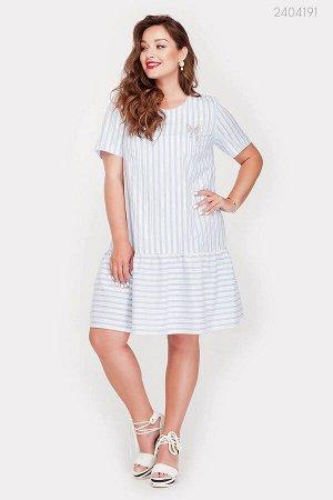 Летнее платье в полоску Пуатье  (голубой)