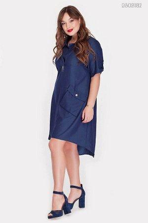 Джинсовое платье с пуговицами по спинке Дамаск-1  (синий)
