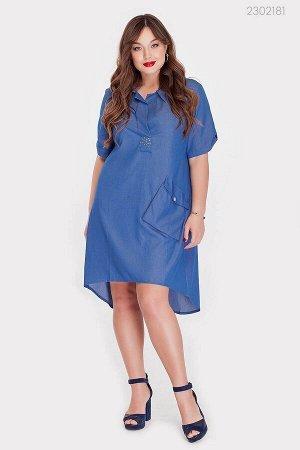 Модное платье Дамаск-1  (голубой)