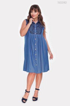 Платье-рубашка из денима с гипюром Мармарис-1  (голубой)