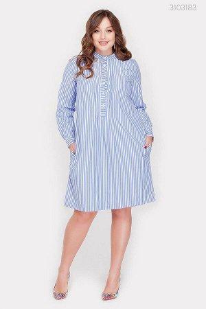 Платье-рубашка в полоску Абуджа  (голубой)