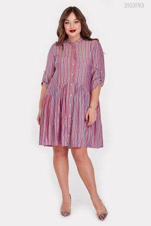 Стильное платье в полоску Тайбей  (алый)