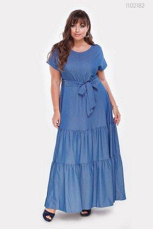 Длинное платье из джинса Эскондидо  (голубой)