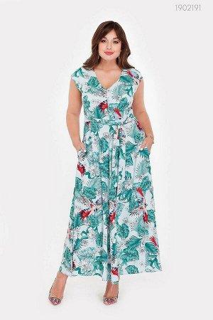 Пёстрое платье длиною макси Санта - Ана  (голубой)