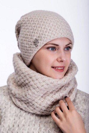 Комплект комплект (шапка снуд ) шапка 56-58 см, лён, Полный флис -  50% шерсть - 50% акрил
