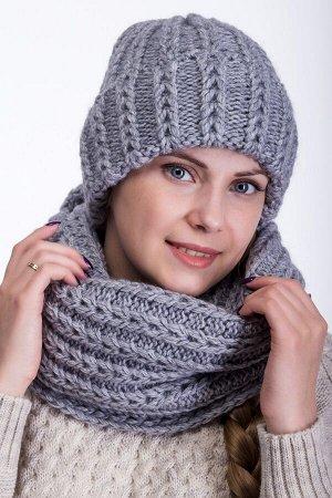 Комплект комплект (шапка снуд ) шапка 56-58 см, , Полный флис -  50% шерсть - 50% акрил